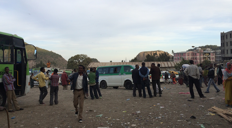 A bus station in Ethiopia where at risk migrants are particularly vulnerable. The Freedom Fund / Audrey Guichon