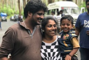 Jaleel, with his wife Aabitha and one of their children